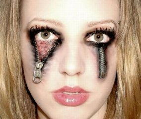 Zipper Eyes Haloween Makeup Sexy Scary Парти грим