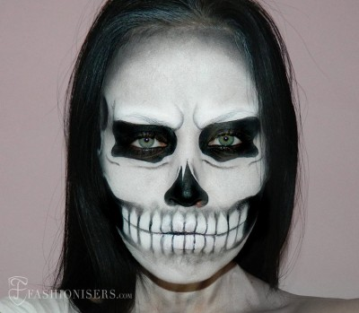 Halloween Skull Makeup Tutorial Fashionisers 400x349 Идеи за грим на Хелоуин